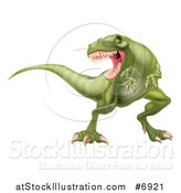 Vector Illustration of a Roaring Angry Green Tyrannosaurus Rex Dinosaur by AtStockIllustration