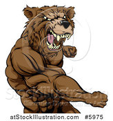 Vector Illustration of a Roaring Angry Muscular Bear Man Punching by AtStockIllustration