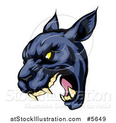 Vector Illustration of a Roaring Black Panther Mascot Head by AtStockIllustration