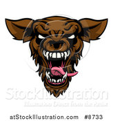 Vector Illustration of a Roaring Brown Werewolf Head by AtStockIllustration