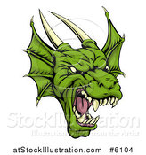 Vector Illustration of a Roaring Green Horned Dragon Face by AtStockIllustration