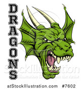 Vector Illustration of a Roaring Green Horned Dragon Mascot Face with Text by AtStockIllustration