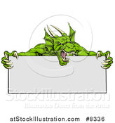 Vector Illustration of a Roaring Green Horned Dragon Mascot Holding a Blank Sign by AtStockIllustration