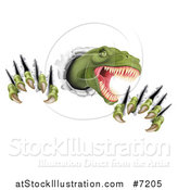 Vector Illustration of a Roaring Green Tyrannosaurus Rex Dinosaur Slashing Through Metal by AtStockIllustration