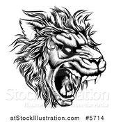 Vector Illustration of a Roaring Lion Mascot Head in Black and White by AtStockIllustration