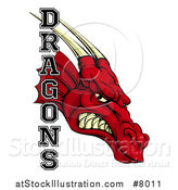 Vector Illustration of a Roaring Red Dragon Head and Text by AtStockIllustration