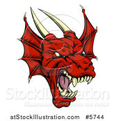 Vector Illustration of a Roaring Red Dragon Head by AtStockIllustration