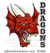 Vector Illustration of a Roaring Red Horned Dragon Mascot Face with Text by AtStockIllustration