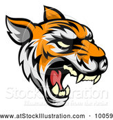 Vector Illustration of a Roaring Vicious Tiger Mascot Face by AtStockIllustration