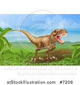 Vector Illustration of a Roaring Vicious Tyrannosaurus Rex Dinosaur in a Landscape by AtStockIllustration
