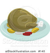 Vector Illustration of a Roasted Thanksgiving or Christmas Turkey on a Platter for a Meal by AtStockIllustration
