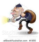 Vector Illustration of a Robber Carrying a Bag over His Shoulder and Using a Flashlight by AtStockIllustration