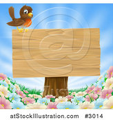 Vector Illustration of a Robin Perched on a Blank Wood Sign on a Tree Stump over Spring Flowers by AtStockIllustration