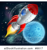 Vector Illustration of a Rocket Ship over a Full Moon by AtStockIllustration