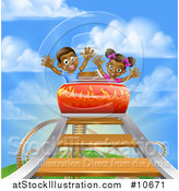 Vector Illustration of a Roller Coaster Ride, Against a Blue Sky with Clouds by AtStockIllustration