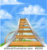 Vector Illustration of a Roller Coaster Track Leading up to the High Point, Against a Blue Sky with Puffy Clouds and Sun Rays by AtStockIllustration