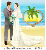 Vector Illustration of a Romantic Newlywed Couple Gazing and Standing on a Tropical Beach by AtStockIllustration