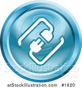 Vector Illustration of a Round Blue and White Cable Connection App Icon by AtStockIllustration