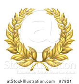 Vector Illustration of a Round Gold Laurel Leaf Wreath by AtStockIllustration