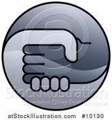 Vector Illustration of a Round Gradient Handshake Logo Icon by AtStockIllustration