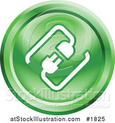Vector Illustration of a Round Green and White Cable Connection App Icon by AtStockIllustration