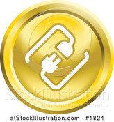Vector Illustration of a Round Yellow and White Cable Connection App Icon by AtStockIllustration