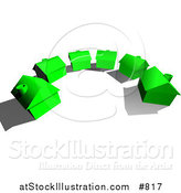 Vector Illustration of a Row of New, Green, Energy Efficient Homes in a Subdivision Neighborhood on a Dead End Cul De Sac Street, Ready to Be Sold, Real Estate by AtStockIllustration