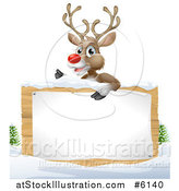 Vector Illustration of a Rudolph Red Nosed Reindeer over a Wood Sign in the Snow on White by AtStockIllustration
