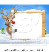 Vector Illustration of a Rudolph Red Nosed Reindeer Pointing Around a Wood Sign in the Snow Against Blue Sky by AtStockIllustration