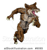 Vector Illustration of a Running Brown Muscular Coyote Man by AtStockIllustration