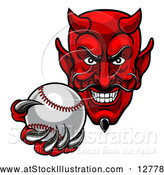 Vector Illustration of a Ruthless Baseball Devil Player Mascot Grinning While Gripping the Ball by AtStockIllustration