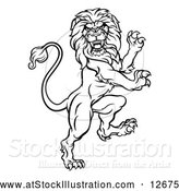 Vector Illustration of a Ruthless Lion - Black Outline by AtStockIllustration