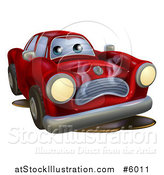 Vector Illustration of a Sad Broken down Red Car by AtStockIllustration