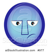 Vector Illustration of a Sad Emoticon with the Blues by AtStockIllustration
