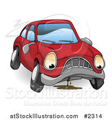 Vector Illustration of a Sad Leaking Car by AtStockIllustration