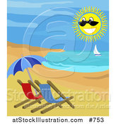 Vector Illustration of a Sailboat, Happy Sun and Chairs on a Beach by AtStockIllustration