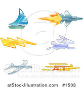 Vector Illustration of a Sailboat, Jet, Lightning Bolt, Rabbit, Bird and Super Hero by AtStockIllustration