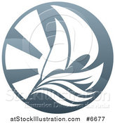 Vector Illustration of a Sailboat, Waves and Sun Rays by AtStockIllustration
