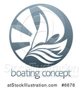 Vector Illustration of a Sailboat, Waves and Sun Rays over Sample Text by AtStockIllustration