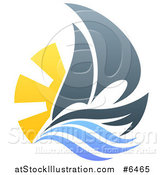Vector Illustration of a Sailing Boat with the Sun and Ocean Waves by AtStockIllustration