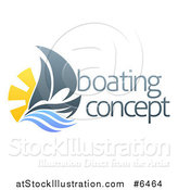 Vector Illustration of a Sailing Boat with the Sun and Ocean Waves by Sample Text by AtStockIllustration