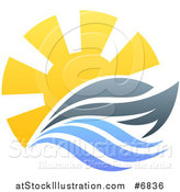 Vector Illustration of a Sailing Boat Yacht with the Sun and Ocean Waves by AtStockIllustration