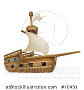 Vector Illustration of a Sailing Galleon Ship by AtStockIllustration