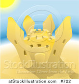Vector Illustration of a Sand Castle on a Beach on a Hot Sunny Summer Day by AtStockIllustration