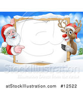 Vector Illustration of a Santa and Reindeer Presenting Blank Sign in a Snowy Landscape by AtStockIllustration