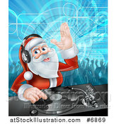 Vector Illustration of a Santa Claus Dj Mixing Christmas Music on a Turntable with People Dancing in the Background by AtStockIllustration