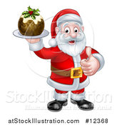 Vector Illustration of a Santa Claus Giving a Thumb up and Holding a Christmas Pudding by AtStockIllustration