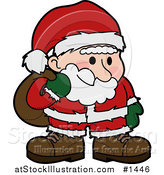 Vector Illustration of a Santa Claus in a Red and White Suit, Standing and Grinning with Flushed Cheeks, Carrying a Sack of Toys over His Shoulder by AtStockIllustration