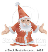 Vector Illustration of a Santa in His Red and White Uniform, Standing with Open Arms by AtStockIllustration