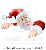 Vector Illustration of a Santa Pointing down at a Christmas Sign by AtStockIllustration